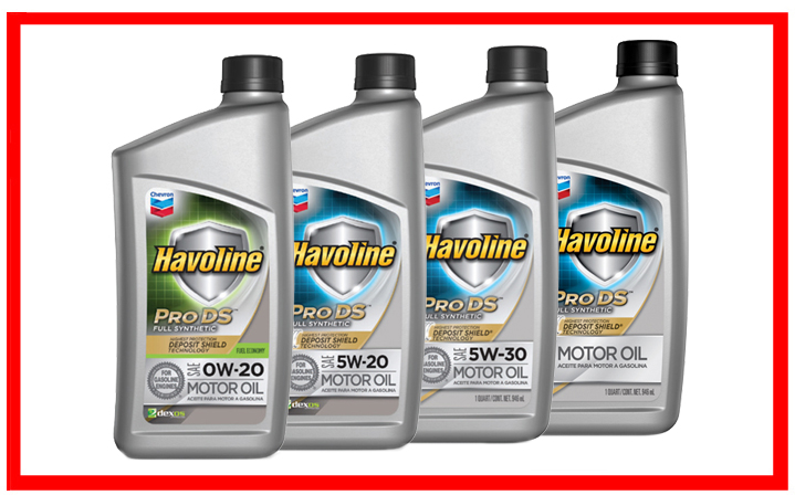 Chevron Havoline Pro DS Synthetic 0W-20, 5W-20, 5W-30, 10W-30
