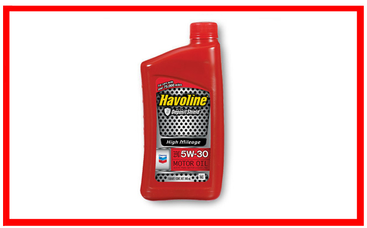 Chevron - Havoline High Mileage SAE 5W-20, 5W-30, 10W-30.