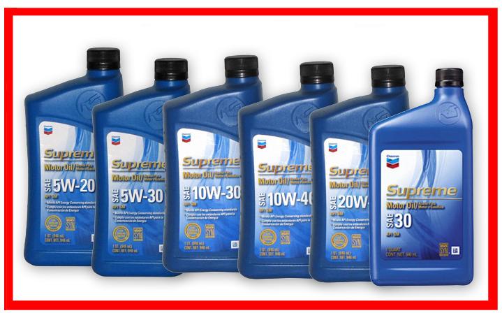 Chevron - Supreme SAE 5W-20, 5W-30, 10W-30, 10W-40, 20W-50, 30, 40