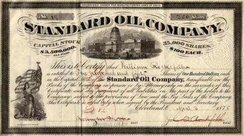 Акция Standard Oil 1887 год.