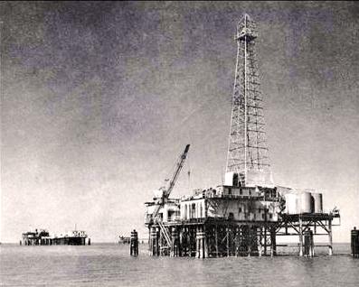 Первая в мире морская нефтяная платформа, 1958 г.