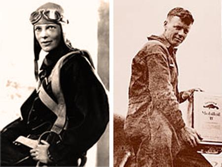 Пилоты Амелия Эрхарт и Чарльз Линдберг  использует масла Mobiloil в двигателях своих самолетаx.