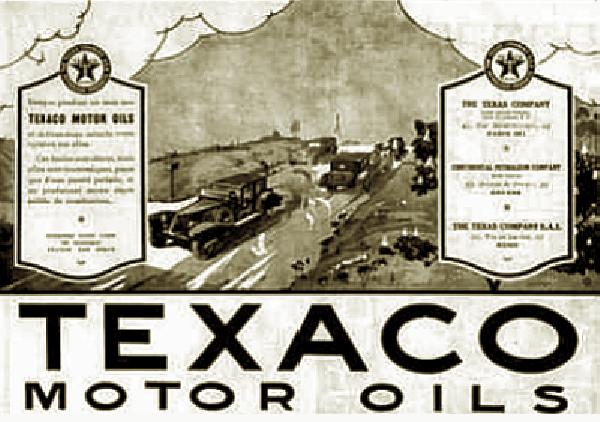 Реклама моторного масла Texaco, 1924 г.